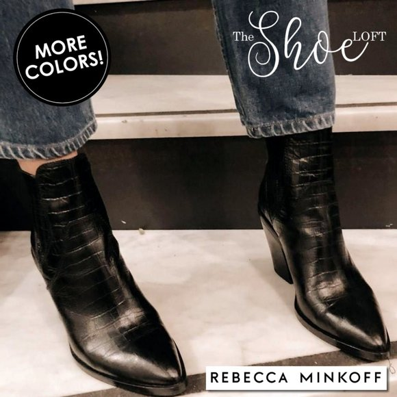 Rebecca Minkoff Shoes - Leather Croc Embossed Sabana Too Bootie